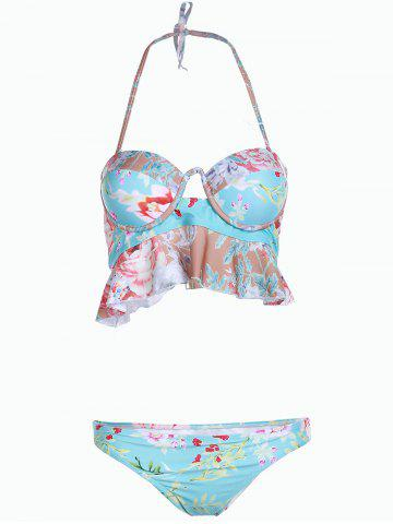 Fancy Sweet Strapless Floral Print Hollow Out Two-Piece Women's Swimsuit TIFFANY BLUE XL