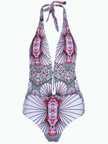Halter Geometric Print One Piece Swimsuit 175760401