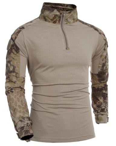 Sale Outdoor Half Zipper Camo Long Sleeves T-Shirt For Men