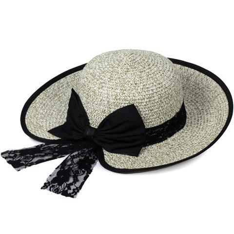 Cheap Bow Lace Covered Edge Straw Fedora Hat