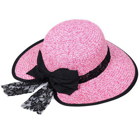 Online Bow Lace Covered Edge Straw Fedora Hat - PINK  Mobile