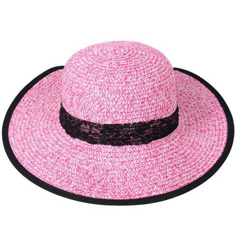 Unique Bow Lace Covered Edge Straw Fedora Hat - PINK  Mobile