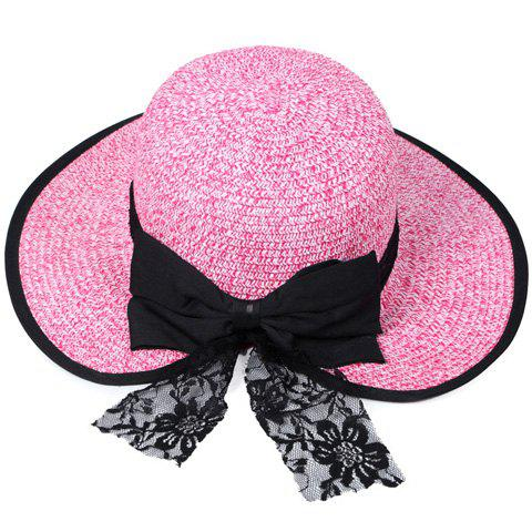 Affordable Bow Lace Covered Edge Straw Fedora Hat - PINK  Mobile