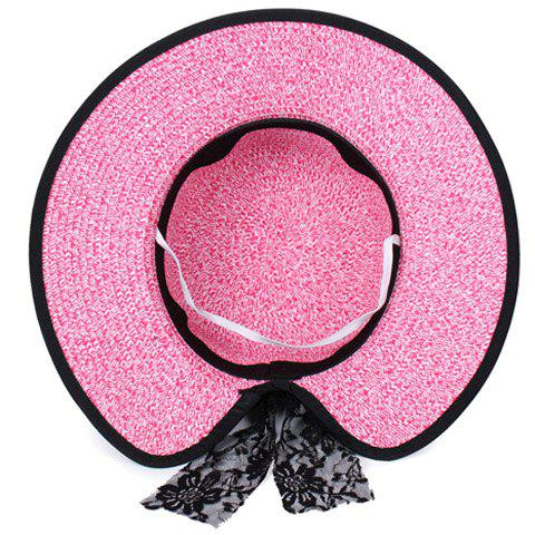 Best Bow Lace Covered Edge Straw Fedora Hat - PINK  Mobile