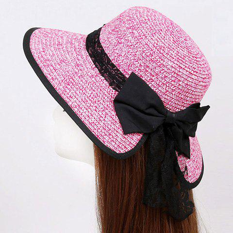 Latest Bow Lace Covered Edge Straw Fedora Hat - PINK  Mobile