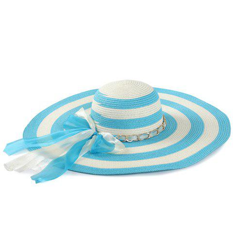 Best Chic Double Bow Lace-Up and Chain Embellished Striped Straw Hat For Women - LAKE BLUE  Mobile
