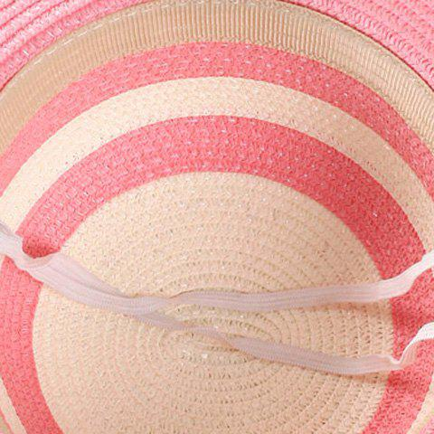 Chic Chic Double Bow Lace-Up and Chain Embellished Striped Straw Hat For Women - LAKE BLUE  Mobile