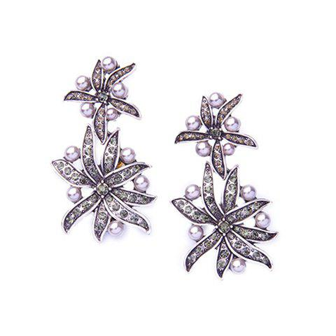Hot Pair of Vintage Faux Pearl Floral Leaf Earrings For Women