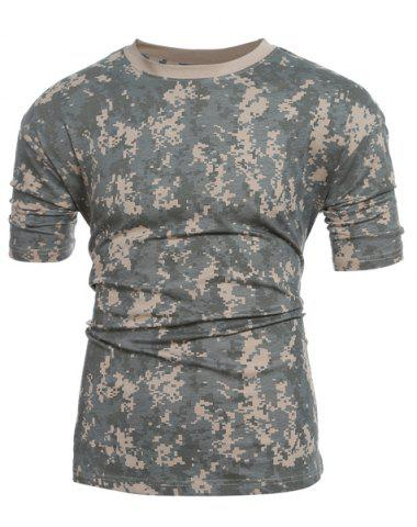 Chic Slim Fit Short Sleeves Camo Round Collar T-Shirt For Men