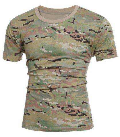 Fancy Slimming Short Sleeves Camo Round Collar T-Shirt For Men
