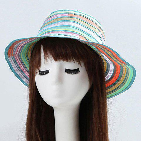 Fancy Chic Multicolor Stripe Pattern Bucket Hat For Women - MINT GREEN  Mobile