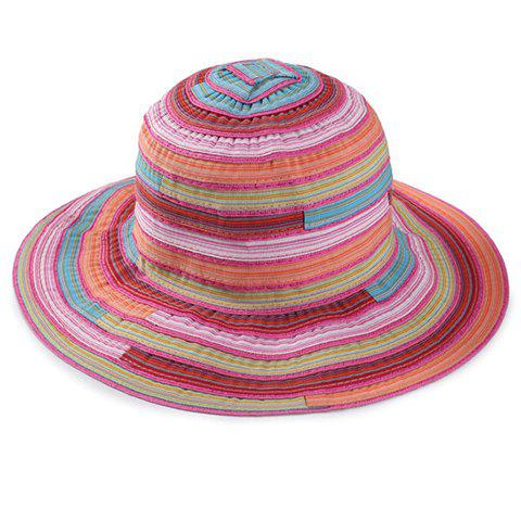 Store Chic Multicolor Stripe Pattern Bucket Hat For Women - ROSE  Mobile