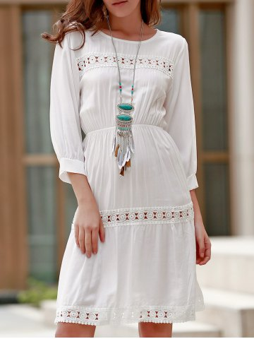 Chic Ladylike Round Collar 3/4 Sleeve White Hollow Out Dress For Women