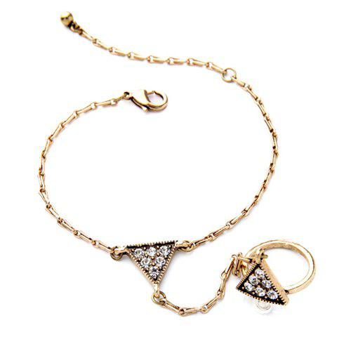 Latest Vintage Rhinestone Triangle Bracelet With Ring For Women
