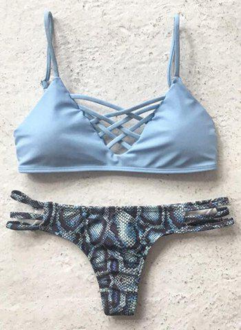 Outfit Sweet Style Criss-Cross Printed Bikini Set For Women