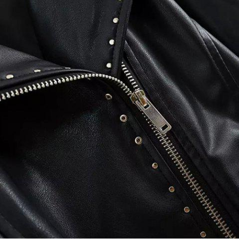 Trendy Chic Turn-Down Collar Black Riveted PU Leather Long Sleeve Jacket For Women - L BLACK Mobile