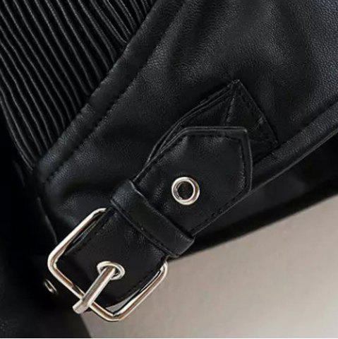 Online Chic Turn-Down Collar Black Riveted PU Leather Long Sleeve Jacket For Women - L BLACK Mobile