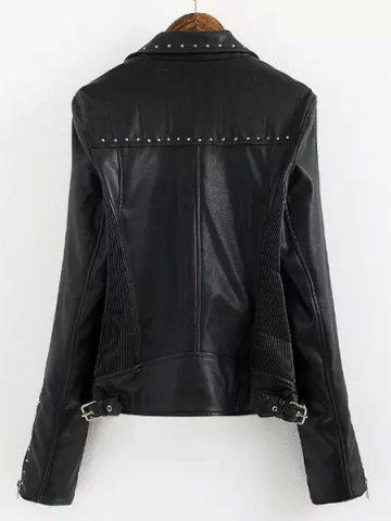 New Chic Turn-Down Collar Black Riveted PU Leather Long Sleeve Jacket For Women - L BLACK Mobile