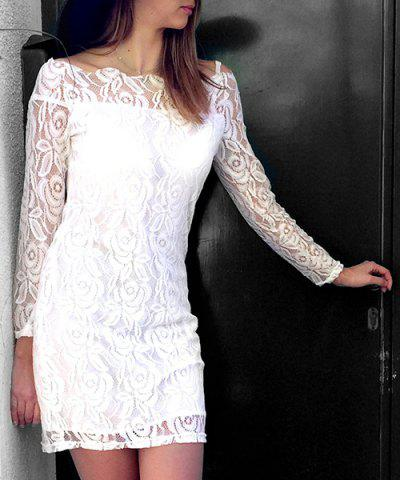 White Off The Shoulder Long Sleeve Bodycon Crochet Lace Dress
