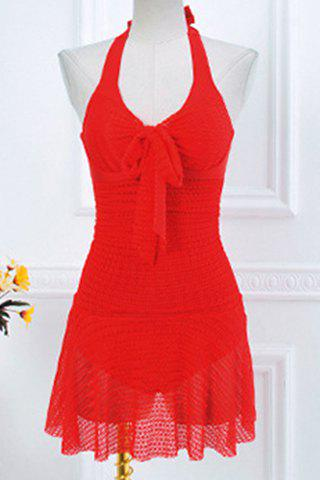 Latest Skirted Lace Up Halter One Piece Swimsuit RED M