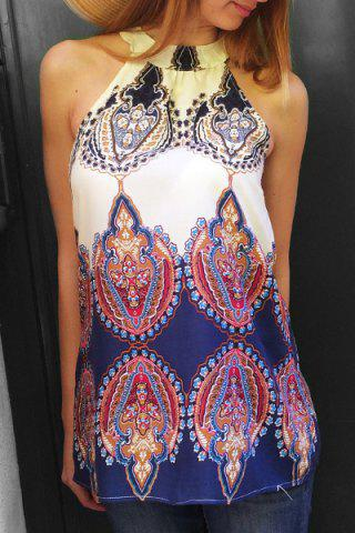 Ethnic Round Neck Sleeveless Printed Dress For Women - Off-white - M