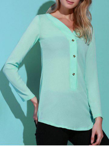 Trendy Casual Solid Color V-Neck Long Sleeve Loose Blouse For Women AZURE M