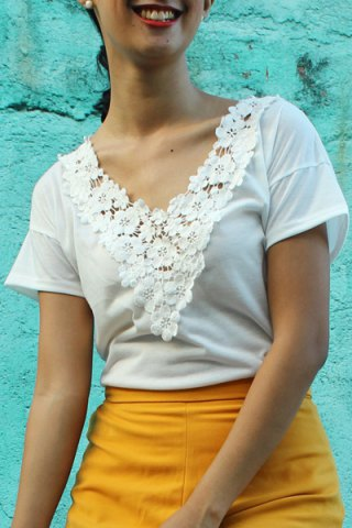 Outfit Sweet V-Neck White Lace Spliced Short Sleeve T-Shirt For Women WHITE S