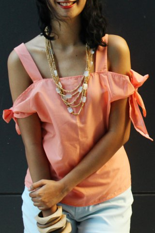 Fancy Sweet Spaghetti Strap Solid Color Cut Out Blouse For Women PINK M