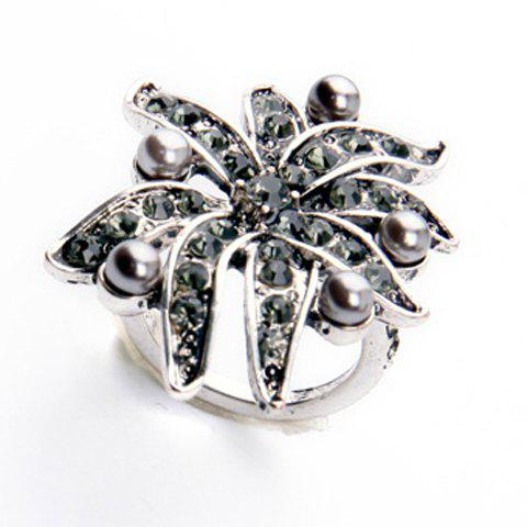 Outfit Fake Pearl Rhinestone Floral Ring