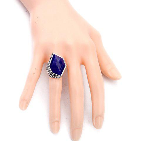Trendy Vintage Alloy Faux Sapphire Geometric Ring - ONE-SIZE BLUE Mobile