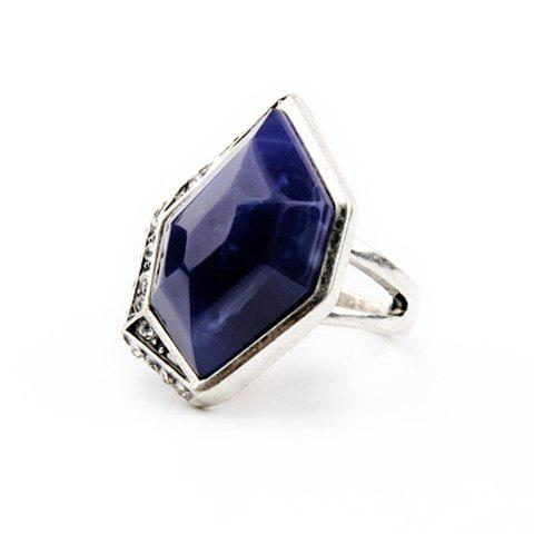 New Vintage Alloy Faux Sapphire Geometric Ring - ONE-SIZE BLUE Mobile