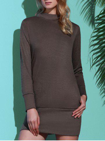 Brief Turtleneck Pure Color Long Sleeve Dress For Women - GRAY S