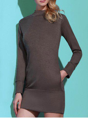 Latest Brief Turtleneck Pure Color Long Sleeve Dress For Women - S GRAY Mobile