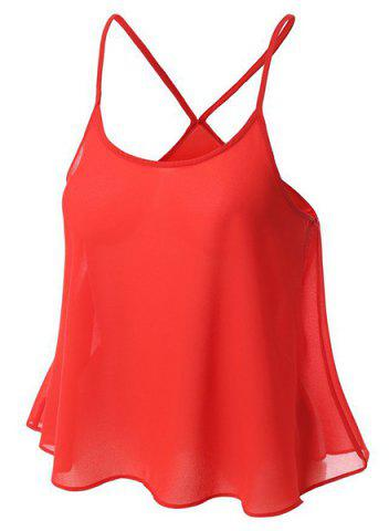 Sweet U Neck Spaghetti Strap Solid Color Camisole Top For Women - RED S