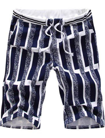 Casual Straight Leg Special Stripes Print Color Block Lace-Up Shorts For Men - COLORMIX 2XL