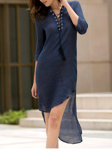 Trendy Fashionable Plunging Neck 3/4 Sleeve Lace-Up High-Low Hem Dress For Women