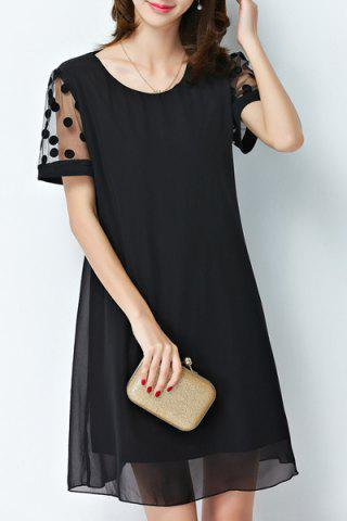 Outfit Ladylike Scoop Neck Black A Line Short Sleeve Dress For Women