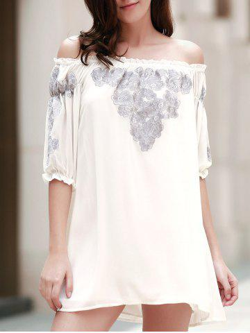 Store Chic Off-The-Shoulder 3/4 Sleeve Embroidered Women's Dress