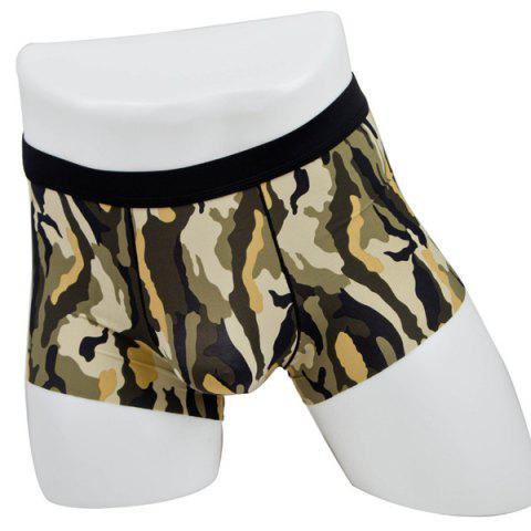 Latest Elastic Waist Camouflage Print Comfortable Boxer Brief For Men