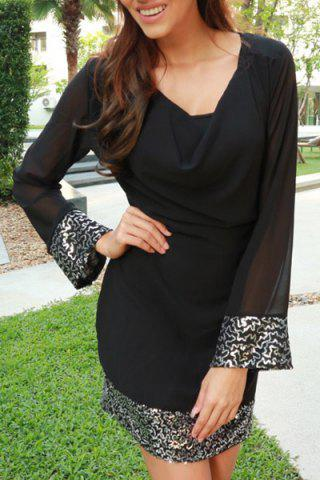 Cheap Cowl Neck Long Sleeve Sequins Dress - XL BLACK Mobile