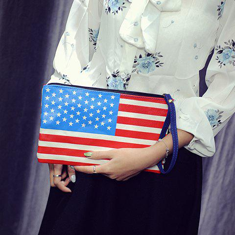 Outfit Trendy PU Leather and American Flag Design Clutch Bag For Women
