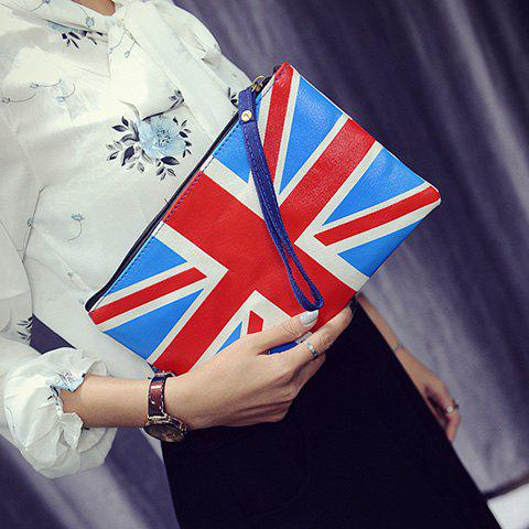 Buy Stylish Zipper and British Flag Design Clutch Bag For Women
