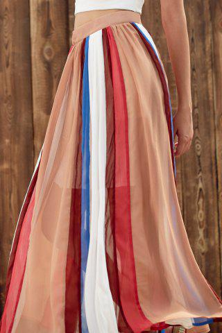Affordable Stylish High Waist Color Block Chiffon Women's Skirt - S COLORMIX Mobile