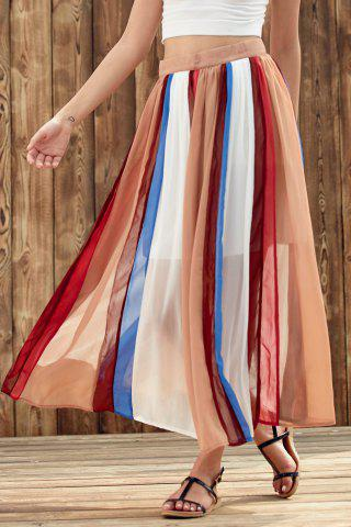 Cheap Stylish High Waist Color Block Chiffon Women's Skirt COLORMIX S