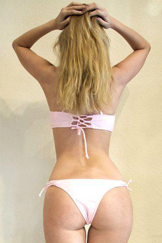 Best Spaghetti Strap Criss-Cross Lace-Up Bikini Set - M PINK Mobile