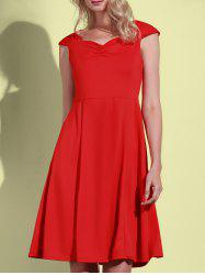 Retro Sweetheart Neck Solid Color Sleeveless Dress For Women - RED