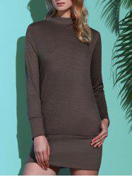 Brief Turtleneck Pure Color Long Sleeve Dress For Women - GRAY