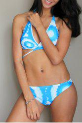 Stylish Halter Criss-Cross Gradient Color Bikini Set For Women -