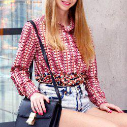 Stylish Women's Ethnic Print Hit Color Long Sleeve Shirt