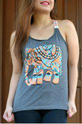 Scoop Collar Elephant Print Graphic Tank Top - GRAY